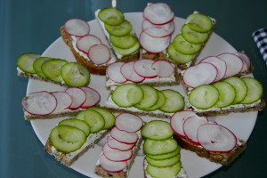 Photo of cucumber and radish sandwiches
